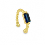 Zirkonia ear cuff Gold-blue