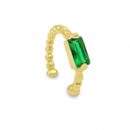 Zirkonia ear cuff Gold-green