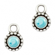 Bedels DQ metaal Pearl turquoise blue-antique silver (nikkelvrij)
