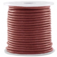 DQ Leer rond 3 mm Marsala brown metallic