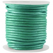 DQ Leer rond 3 mm  Winter green metallic