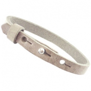 Cuoio armbanden leer 8 mm voor 12 mm cabochon Country grey