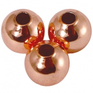 DQ kraal 6 mm met 2,5 mm rijggat DQ Rose Gold plated duurzame plating