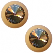 Cabochon Polaris matte rivoli swarovski XXL Soft greige-light colorado topaz