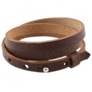 Cuoio armbanden leer triple 8 mm voor 12 mm cabochon Fudge brown