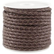 DQ leer rond gevlochten 3mm Chocolate brown