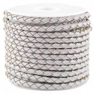 DQ leer rond gevlochten 3mm Light grey