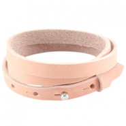Cuoio armbanden nubuck leer triple 8 mm voor 12 mm cabochon Light coral pink