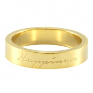 "Quote ring ""happiness"" Goud"