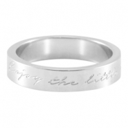 "Quote ring ""Enjoy the little things"" Zilver"