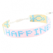 "Trendy beach armbandjes ""happiness"" Licht roze"
