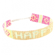 "Trendy beach armbandjes ""happy"" Yellow gold"