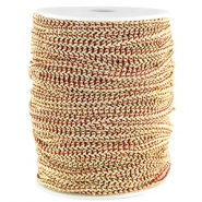 Fashion wire plat 5mm Donker rood-goud