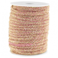 Fashion wire plat 5mm Licht fuchsia-goud