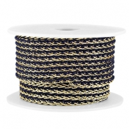 Fashion wire 4mm Donker blauw-goud