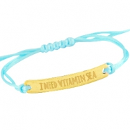 Armbandjes satijnkoord met quote Goud - Light aquamarine blue