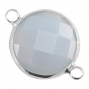 Crystal glas tussenstukken rond 16mm Light grey opal-Silver