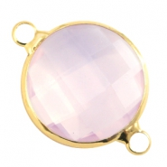 Crystal glas tussenstukken rond 16mm Light rose opal-Gold