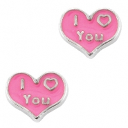 Floating Charms hartje I Love You Antiek zilver-roze