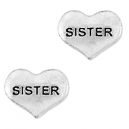 Floating Charms hartje sister Antiek zilver