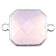Crystal glas tussenstukken vierkant 16x16mm Light rose opal-Silver