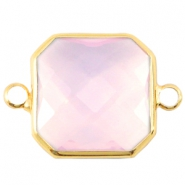 Crystal glas tussenstukken vierkant 16x16mm Light rose opal-Gold