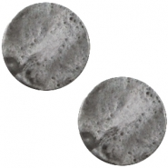 Polaris cabochon plat 12mm Mosso shiny Stormy silver grey