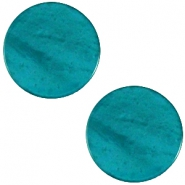 Polaris cabochon plat 20mm Mosso shiny Deep teal blue