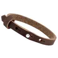 Cuoio armbanden nubuck leer 8 mm voor 12 mm cabochon Dark chocolate brown