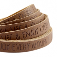 Plat imi leer 10mm met quote Love Life Rust brown
