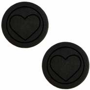 Cabochon Polaris hart plat 20mm matt Black