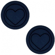 Cabochon Polaris hart plat 20mm matt Blue iris