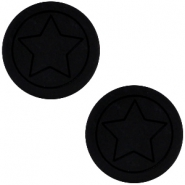 Cabochon Polaris ster plat 12mm matt Black