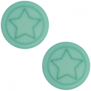 Cabochon Polaris ster plat 12mm matt Aqua blue foam