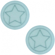 Cabochon Polaris ster plat 12mm matt Haze blue