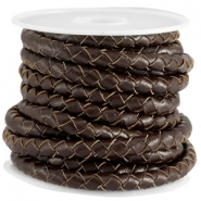 DQ leer 5mm 4 draden rond gevlochten Chocolate brown