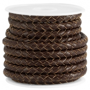 DQ leer 5mm 6 draden rond gevlochten Chocolate brown