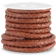 DQ leer 5mm 4 draden rond gevlochten Dark copper brown