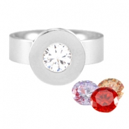 Changeable diamond ring stainless steel Zilver