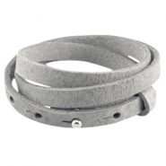 Cuoio armbanden leer triple 8 mm voor 12 mm cabochon Natural grey