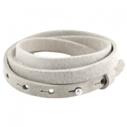 Cuoio armbanden leer triple 8 mm voor 12 mm cabochon Light grey
