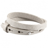 Cuoio armbanden leer 8 mm dubbel voor 12 mm cabochon Light grey