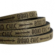 Plat imi leer 5mm met quote Boho chic Olive green