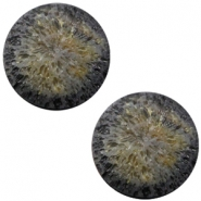 Cabochon Polaris Perseo matt crushed ice 12mm Black gold