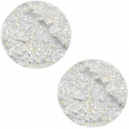 Cabochon Polaris Goldstein plat 12mm matt White silver