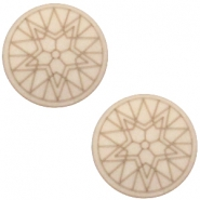 Cabochon Polaris Winter star plat 20mm matt Light taupe