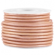 DQ leer rond 3mm Rose brown metallic