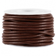 DQ leer rond 3mm Dark chocolate brown