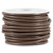 DQ leer rond 3mm Dark nature brown