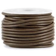 DQ leer rond 3mm Dark brown